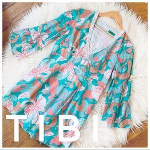 🌿TIBI tropical floral print beaded vneck dress